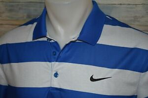 NIKE GOLF DRI FIT Men's S S Polyester Polo Shirt Blue Striped Size Large $9.00