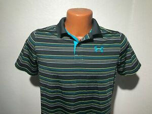 Boys Under Armour Heat Gear S S Polo Golf Shirt Youth Large YL Striped $5.99