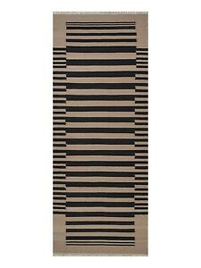Hand Woven Flat Weave Kilim Wool 2'6''x6' Runner Rug Contemporary Cream Charcoal