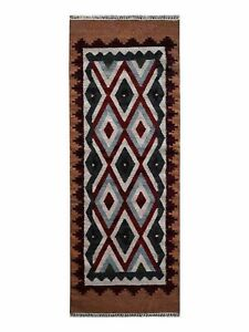 Hand Woven Flat Weave Kilim Wool 2'6''x6' Runner Rug Contemporary Multicolor