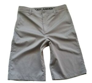 UNDER ARMOUR GOLF Shorts MATCH PLAY Youth Boys Sz 20 x 11 Heatgear LOOSE GRAY $14.99