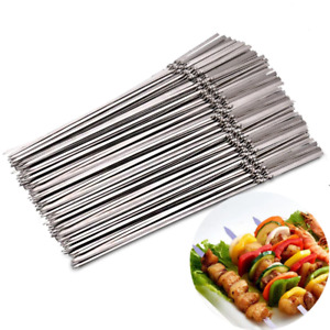 15*Stainless Steel Barbecue Metal Skewers Needle BBQ Grill Kebab Stick Reusable