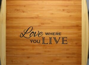 New Kitchen Love Where You Live Medium Bamboo Cutting Board Engraved Free Ship