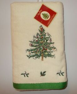 NEW SPODE CHRISTMAS TREE EMBROIDERED COTTON HAND TOWEL FREE SHIP