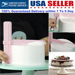 Home Adjustable Fondant Cake Scraper Icing Piping Spatula Edges Smoother Tool US