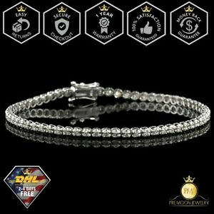 2.00 Ct Round HUGE Natural Real Diamond Tennis Bracelet 14K White Gold XMAS Gift