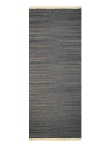 Hand Woven Flat Weave Kilim Wool 2'6''x6' Runner Rug Solid Silver BBH BBD00111