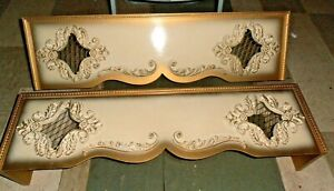2 vintage Gilt Gold Wood Window Cornice valance Drapery Curtain $475.00