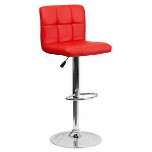 Flash Furniture Red Quilted Vinyl Adjustable Height Barstool DS-810-MOD-RED-GG