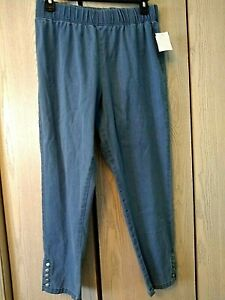 Blair Womens Size L Metal Studded Pull On Blue Jeans NWT $18.99