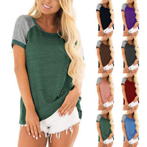 Women Summer Casual T shirt Short Sleeve Tops Crew Neck Solid Loose Blouse