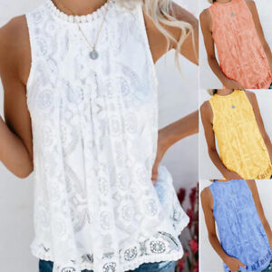 Women Summer Sleeveless Solid Lace Crew Neck Blouse Casual Loose Tank T Shirt