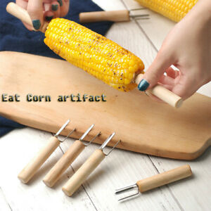 8PC Stainless Steel Corn Forks Corn on The Cob Skewer BBQ Supplies Wooden Handle $9.59