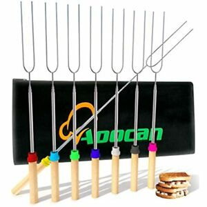 Marshmallow Roasting Sticks Telescoping Rotating Smores Skewers Hot Dog - 32 Set