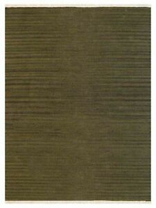 Hand Woven Flat Weave Kilim Wool 8'x10' Area Rug Solid Olive BBH Homes BBD00111