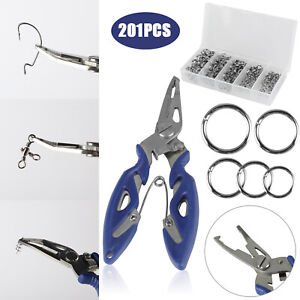 201x Fishing Accessories Pliers Swivels Hook Split Ring Tackle Box Connector Set