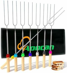 Aoocan Marshmallow Roasting Sticks Telescoping Rotating Smores Skewers Hot Dog