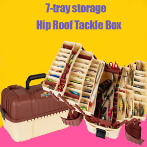 7-Tray Outdoors Hip Roof Fishing Tackle Box Bait Storage Case Plano Lures