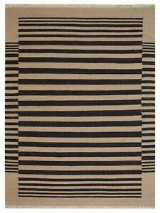 Hand Woven Flat Weave Kilim Wool 6x9 Area Rug Contemporary Cream Charcoal D00125