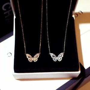 2021 Butterfly 925 Silver Zircon Pendant Necklace Women Clavicle Jewelry Gifts