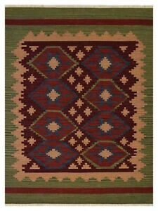 Hand Woven Flat Weave Kilim Wool 10'x14' Area Rug Contemporary Burgundy Olive D0