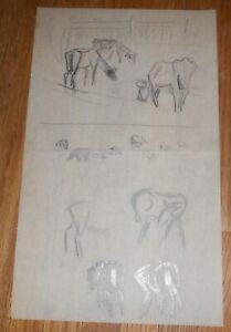 Original Pencil Drawing of Horses amp; Cows by Helena Krause Beacham $9.99