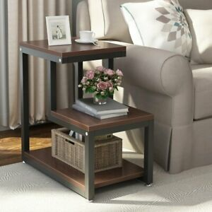 End Side Table with Storage Home Living Room 3Tier Durable Furniture Shelf Decor