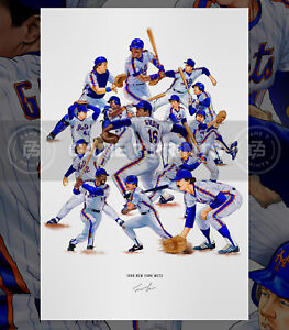 1986 New York Mets Baseball Illustrated Print Poster Art World Series