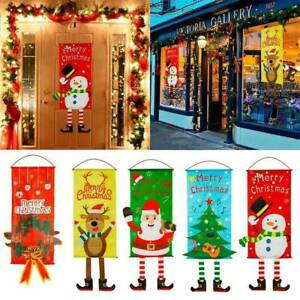 Merry Christmas Santa Claus Banner Flag Door Window Hanging Ornament Xmas Decor