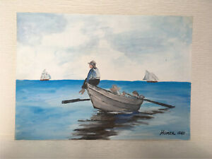 Original painting watercolor signed Homer hand painted unique rare seascape $1.25