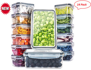 14 Pack Plastic Food Box Storage Containers with Airtight Lids,Freezer Safe Box
