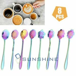 8PCS SET Stainless Steel Dessert Teaspoons Flower Shape Spoon Set Coffee Spoons