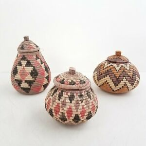 Lot of 4 Multicolor Traditional Handwoven Zulu Baskets Herb Container