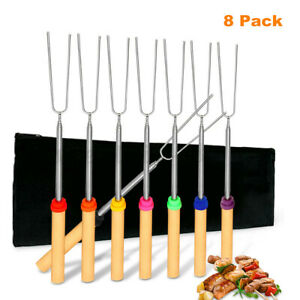 8X Stainless Steel BBQ Roasting Sticks Marshmallow Hot Dog Fork Skewers Campfire