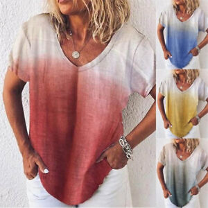 Summer Womens Casual Short Sleeve T Shirt V Neck Loose Tops Solid Blouse $15.55