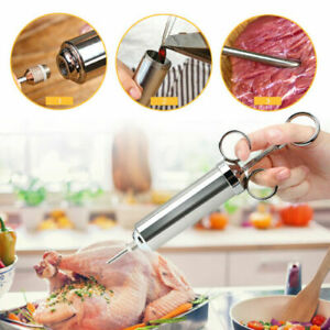 304 Stainless Steel Meat Marinade Injector Syringe Turkey BBQ Meat +3 Needles