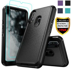 For Samsung Galaxy A20S A20 Case Shockproof Hybrid Armor CoverHD Tempered Glass
