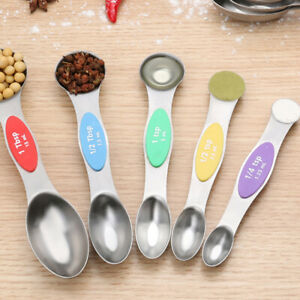 5PCS Stainless Steel Measurement Spoon Measuring Double End Nesting Spoons Sets
