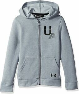 Under Armour Big Boys Hoodie Heather Gray Size XL Full Zip Rival Logo $40 #843 $23.97