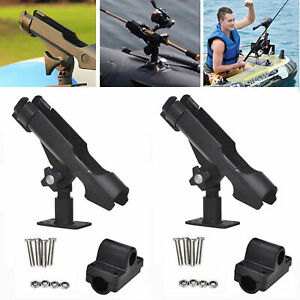 2PCS Boat Kayak Fishing Rod Pole Holder Rest Stand Support Clamp On Side Rail