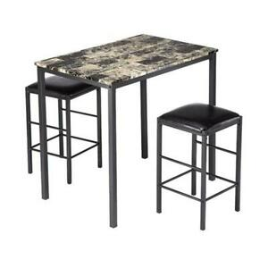 Marble Face High Dining Table and 2 Chair Set
