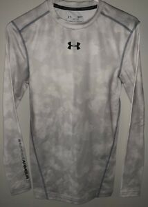 Under Armour Cold Gear Compression Crew Top Shirt Small Base Layer White Camo $19.99