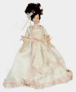Miniature Dollhouse Doll Victorian Lady in White Pink Gown 1:12 Scale New $16.99