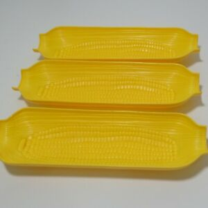 3 Corn on the Cob Dishes Tray Holder 8.25quot; Plastic Yellow Textured Picnic