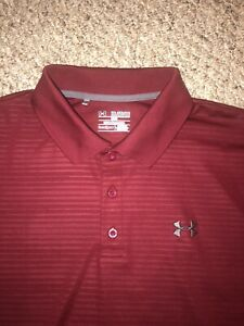 New Under Armour Golf Polo Shirt Size Mens XXL 2XL Spandex Red Gray Striped $5.99