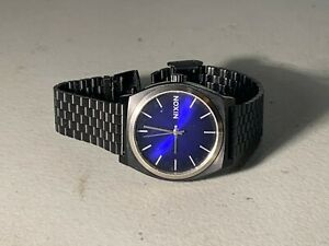 MENS NIXON BLACK PVD METAL BLUE FACE WATCH MINIMAL THE TIME TRAVELER