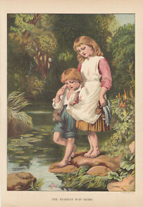 VICTORIAN CHILDREN AT LAKE SUMMER DAY LITHOGRAPH ANTIQUE ART PRINT 1887 $14.95