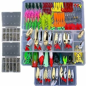 Smartonly1 Set 226Pcs Fishing Lure Tackle Kit Bionic Bass Trout Salmon Pike Frog