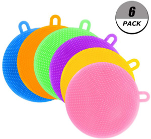Evebel Silicone Dish Sponges 6 Pack Colorful Cleaning Sponges For Dish Washing
