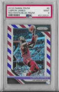 LEBRON JAMES 2018 19 PANINI PRIZM RED WHITE BLUE PRIZM GRADED PSA 9 MINT Lakers